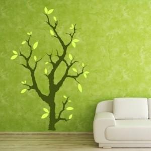 Stenska nalepka - drevo z listi